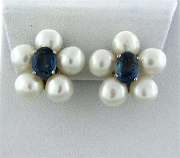 thumbnail image of Seaman Schepps 18k White Gold Pearl Sapphire Earrings