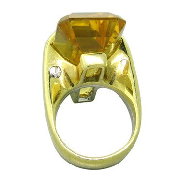 thumbnail image of Large Citrine 18K Gold Ring