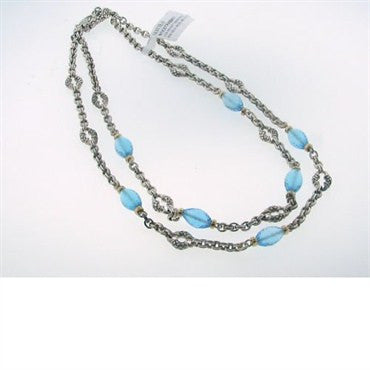 thumbnail image of Scott Kay Sterling 18k Gold Blue Topaz Necklace