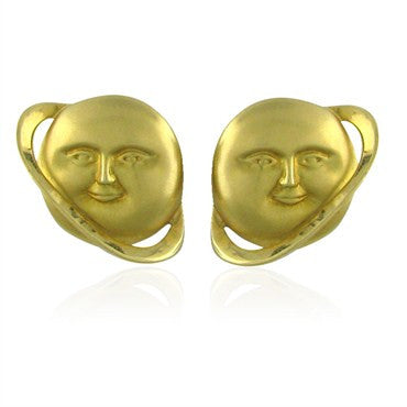 image of Designer Signed 18K Yellow Gold Planet Earrings