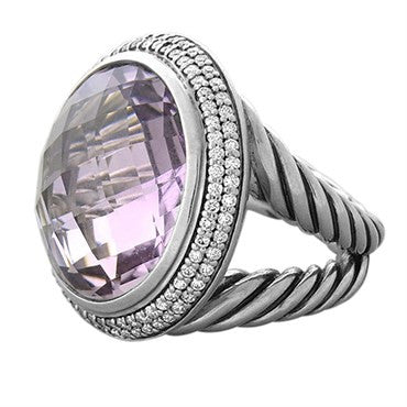 thumbnail image of David Yurman Cerise Sterling Silver Diamond Amethyst Ring