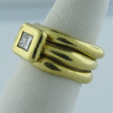 image of Estate H. Stern 18k Gold Diamond Three Band Ring Set