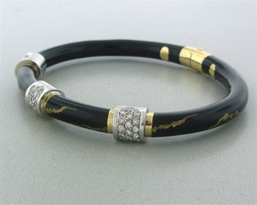 thumbnail image of Estate Soho 18K Gold Black Enamel Diamond Bangle Bracelet