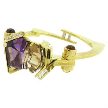 image of Unusual Modernist Amethyst Diamond Citrine 18k Gold Bangle Bracelet