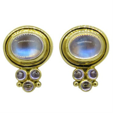 image of Temple St. Clair Moonstone Cabochon Gold Earrings