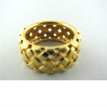 image of Tiffany & Co 18k Gold Basket Weave Wide Band Ring