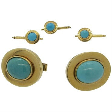 image of Massive Turquoise 14k Gold Cufflinks and Studs Dress Set