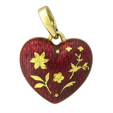 image of Faberge 18K Yellow Gold Red Enamel Heart Charm Pendant