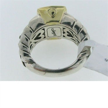 image of Estate Scott Kay Sterling & 18k Gold Smoke Quartz Ring
