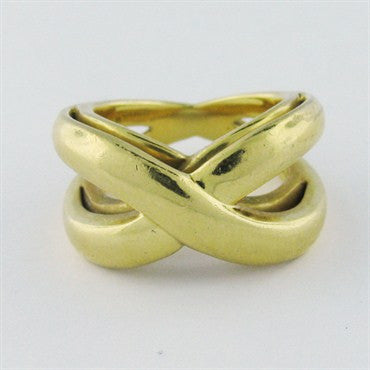 image of Estate Tiffany & Co 18K Gold X Ring