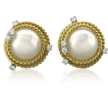 thumbnail image of Tiffany & Co Schlumberger Rope Pearl Diamond Earrings