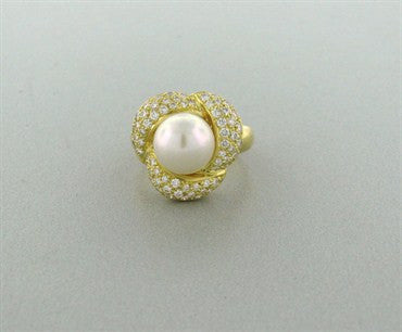 thumbnail image of New Gumuchian 18K Gold Diamond Pearl Ring