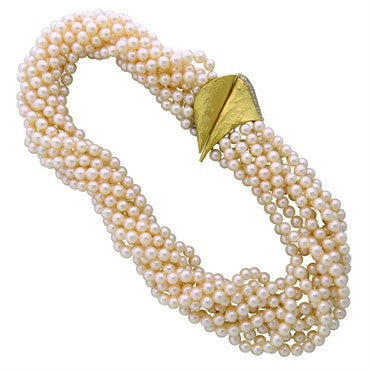 image of Vintage 18K Gold Pearl Diamond Multi Strand Necklace