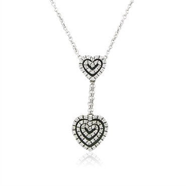 thumbnail image of Estate Piero Milano 18K White Gold Diamond Heart Pendant Necklace