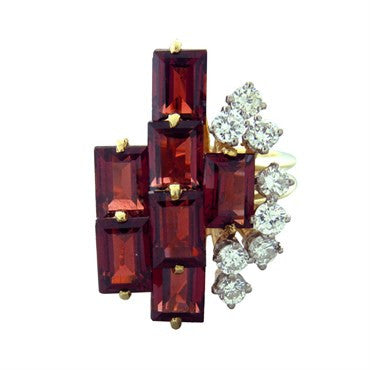 image of 1970s Le Triomphe Gold Diamond Garnet Cocktail Ring