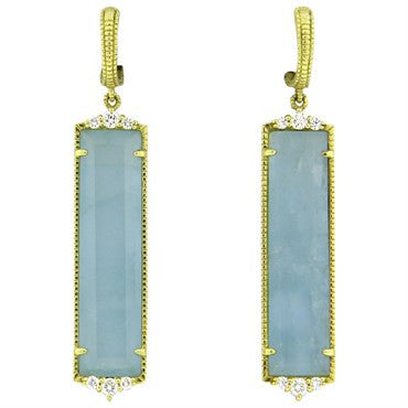 image of Judith Ripka Blue Gemstone Diamond 18k Gold Drop Earrings
