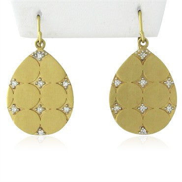 image of Designer Signed Shaill 18K Gold Diamond Drop Earrings