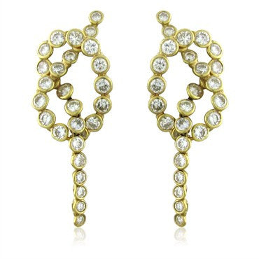image of Estate Jose Hess 18K Yellow Gold 3.00ctw Diamond Earrings