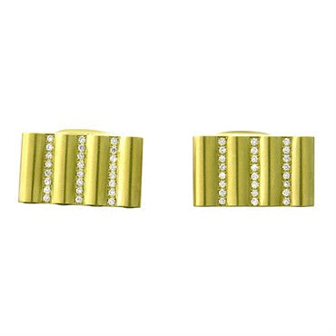image of New Victor Mayer Faberge Maker 18K Gold Diamond Cufflinks