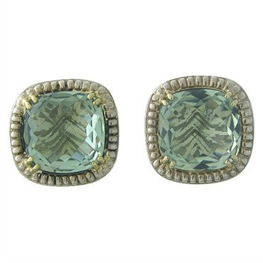image of Charles Krypell 14K Gold Sterling Silver Green Gemstone Earrings
