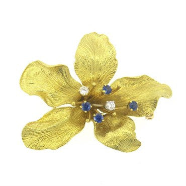 thumbnail image of Whimsical Sapphire Diamond 18k Gold Flower Brooch Pin