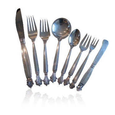thumbnail image of 72pc Georg Jensen Acanthus Sterling Place Setting Set