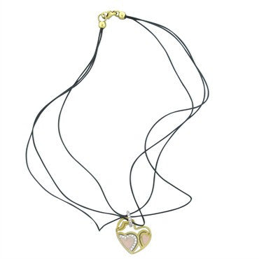image of New Roberto Coin 18K Gold Diamond Enamel Cord Necklace Heart Pendant