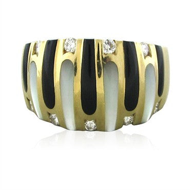 image of Kabana 14K Gold Diamond Mother Of Pearl Onyx Ring