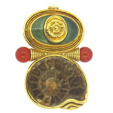 image of Elizabeth Gage Gold Carnelian Pearl Fossilized Shell Brooch
