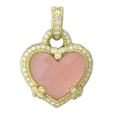 image of Judith Ripka 18K Gold Rose Crystal Diamond Heart Enhancer Pendant