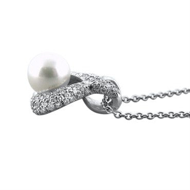 image of New Gumuchian Platinum Diamond & Pearl Infinity Pendant Necklace