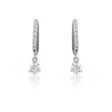 thumbnail image of Hearts On Fire Three Prong Diamond Leverback 0.59ct Diamond Earrings