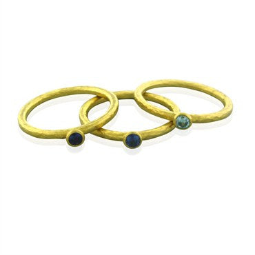 image of Gurhan 24K Yellow Gold Sapphire Aquamarine Three Band Ring Set