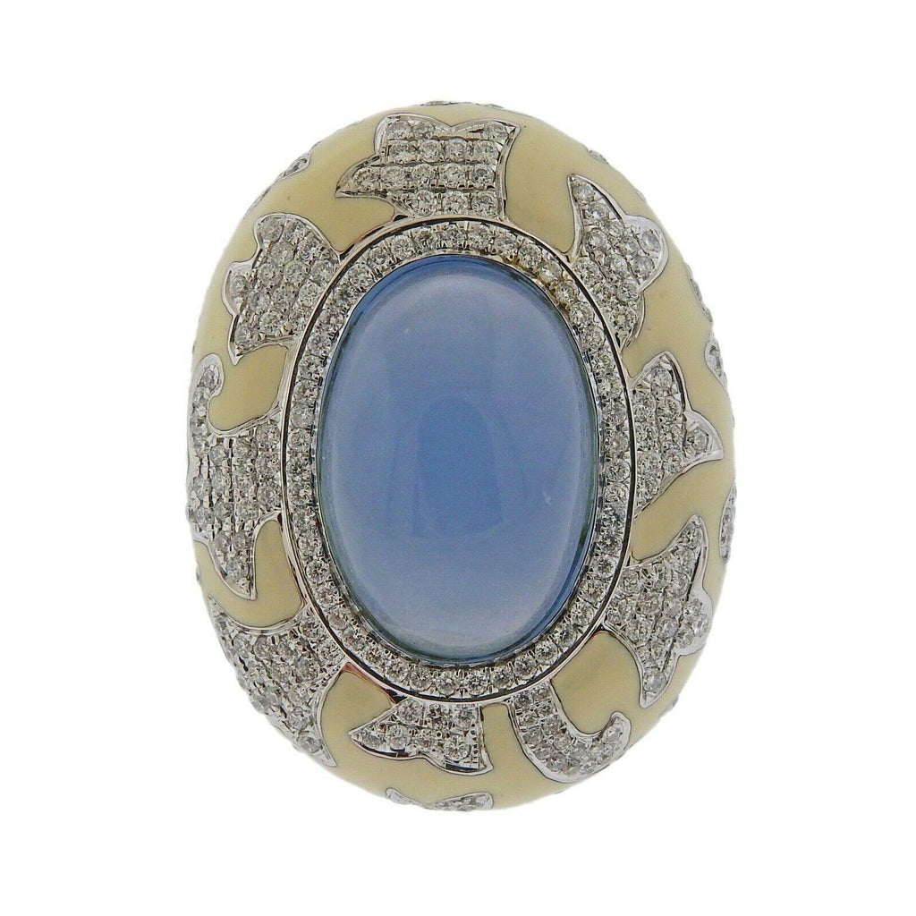 thumbnail image of Gold Diamond Chalcedony Enamel Ring