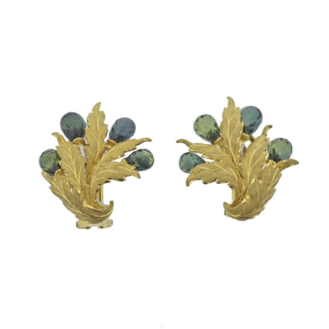 image of Buccellati Green Sapphire Gold Earrings