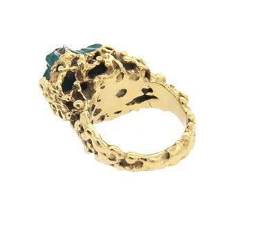 thumbnail image of Free Form 1970s 14k Gold Diamond Chatham Emerald Ring