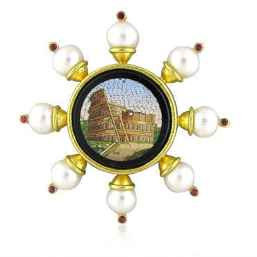 image of Elizabeth Locke 18K Gold Micro Mosaic Ruby Pearl Brooch Pin
