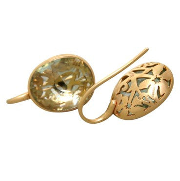 image of New Pomellato Arabesque 18k Gold Prasiolite Earrings