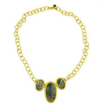 image of Gurhan 24k Gold Labradorite and Sapphire Pendant Necklace
