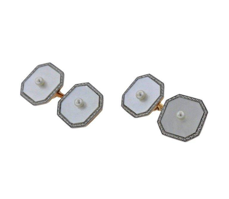 thumbnail image of Art Deco Platinum Gold Diamond Mother of Pearl Cufflinks Studs Set