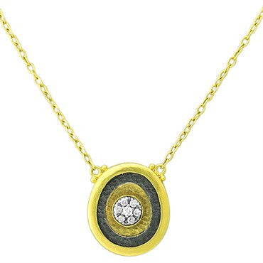 thumbnail image of Gurhan 24K Gold Sterling Silver Diamond Pendant Necklace