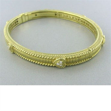 image of Judith Ripka Romance Pave Diamond Heart Bangle Bracelet