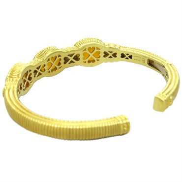 image of Judith Ripka 18K Gold Gemstone Diamond Cuff Bracelet