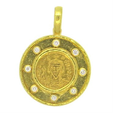 thumbnail image of One Of A Kind Elizabeth Locke Byzantine Ancient Coin Diamond Gold Pend