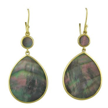 thumbnail image of New Ippolita 18k Gold Polished Rock Candy Shell Teardrop Earrings