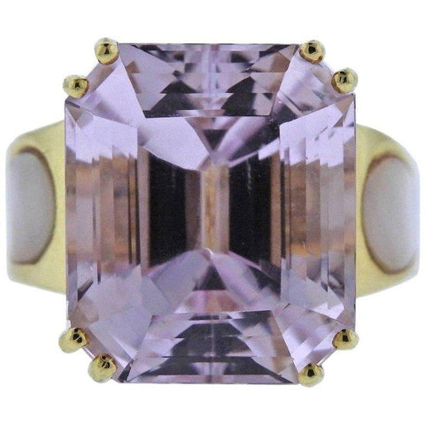 image of 20 Carat Kunzite Diamond Mother-of-Pearl Gold Ring