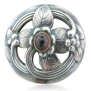 image of Estate Georg Jensen Sterling Silver Garnet Brooch Pin