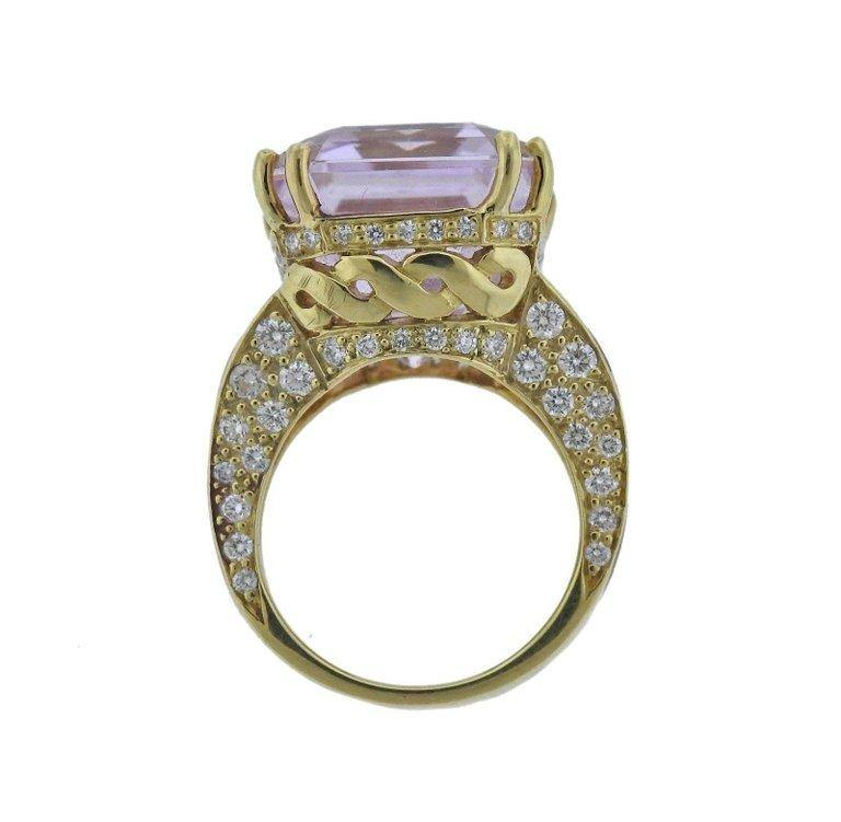 thumbnail image of 20 Carat Kunzite Diamond Mother-of-Pearl Gold Ring