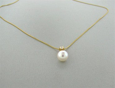 image of Estate Tiffany & Co 18k Gold Pearl Diamond Pendant Necklace