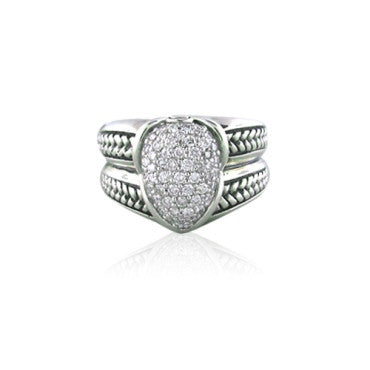 image of New Scott Kay Sterling Silver Diamond Ring
